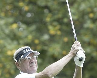 William d LEwis  The Vindicator Bob Leonard winner of senior golf tourney tees off.