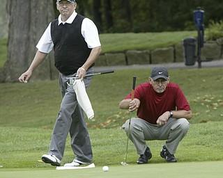 William d LEwis  The Vindicator Bob Leonard winner of senior golf tourney , left, and runner up Kurt Beler  during sudden death playoff..