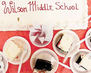 The new Woodrow Wilson Middle School on Sunday afternoon Sunday afternoon. And, of course, no open house is complete without cake for the guests. The price tag for the new school was $13.5 million, the superintendent said.