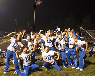 Hubbard Majorettes supporting their team at the lakeview game