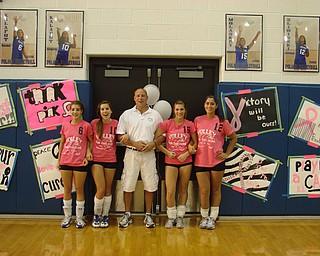 Poland High School   Volleyball Seniors.  Rachel Kalafut, Krystal Kalafut, Coach Fred Smith, Amanda Molasky, Jenna Sliwinski