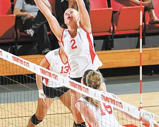 Youngstown State senior volleyball player Dani Soubliere (2) is one of the Penguins' captains this season. She is coaching a club team in the area, which has helped her gain an appreciation for the job new YSU coach Krista Burrows is doing.