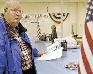 Mike Carney of Campbell was among the first voters to cast a ballot in Mahoning County. Carney was at the county board of elections Tuesday, the first day of early voting in Ohio.