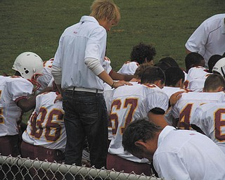 Dominic DiVencenzo (No. 67) is shown in this pregame picture of the freshman football team before the Mooney-Boardman game Sept. 3.