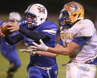 ROBERT K. YOSAY | THE VINDICATOR..almost an interception as #21 Ed Newhouse tries to intercept a pass  bound for Indians #5  Michael Hipsley - both dropped the ball during second quarter - Western Reserve Blue Devils  vs Southern Local Indians at Western Reserve Stadium ..-30-..