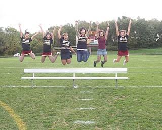 The court jumping with spirit!!! Melissa Charles-Kristen Sewell-Lina Adi-Jelena Neskovich-Dorie Chevlen-Kara Mrosko - John Young