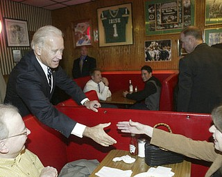 William d Lewis The Vindicator   VP Joe Biden shakes hands with Mary Carmen Kelley and her brother Tim Curtin of Liberty during a Monday visit to Youngstown.
