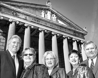 William D Lewis The Vindicator: Stambaugh Pillars Fashion Show Committee l-r Phil Cannatti, Stambaugh Exec. Director, Leilani Drake Co-chairperson, Barbara Banks Co Chairperson, Judy Conti, Fashion coodinator and Mike Dwulit- Dillards Store mgr.