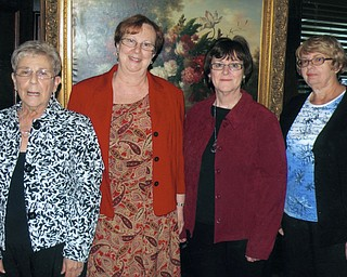 Looking forward to greeting women who are interested in meeting people and making friends in new surroundings are officers of the Newcomers, from left, Mary Jane Stevens, treasurer; Kathleen Yap, vice president; Luanna Jacobs, president; and Regina Jenkins, newsletter. The club offers opportunities for women to participate in various social activities such as the Round Towners (which includes husbands), and birthday, needlework and movie groups. The next monthly luncheon meeting will be at 11:30 a.m. Oct. 27 at A La Cart in Canfield. The speaker will be Janet Loew, director of public relations for Mahoning County Library. For more information on the Newcomers, call 330-726-9620.