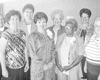 Trumbull Retired Teachers, from left to right, Barb Wright, Betty Jean Behmer, Linda Cowin, Roselyn Gadd, Gretchen Reed, Hattie McNeal, Denise DelTondo and Ruby Hawkins, attended the SCOPE Honors Luncheon at the Trumbull Country Club, during which TRTA nominee Gadd won the Honor Award for media.