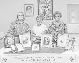 "History month celebration: Trumbull County Women's History Committee is planning a banquet for March 29, 2011, at Packard Music Hall to celebrate the 25th anniversary of Women's History Month. ""Our History, Our Strength"" has been chosen as the theme for the event. To prepare for the celebration, the committee and Trumbull County Woman Magazine are asking all women's organizations in the county to submit historical information. The information will be collected and included in the banquet program and in stories in the magazine. Displaying some of the historic memorabilia they have collected are, from left, Cynde Kennedy, Ann Penman and Theresa E. Salcone, members of the planning committee. For more information about the dinner or how to submit the information, contact E. Carol Maxwell at 330-360-0901 or by e-mail at maxec226@gmail.com."