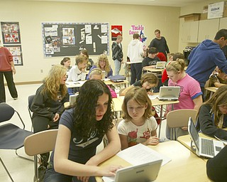 ROBERT K. YOSAY | THE VINDICATOR..Ninth graders at Jackson  Milton High School taught  fourth graders an interactive poetry lesson during a reading of The Raven by Edgar Allan Poe....  --30-..