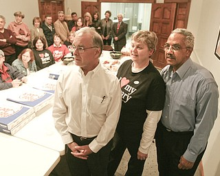 ROBERT  K.  YOSAY  | THE VINDICATOR --..Carlton Sears- Cathy Ciccone (SEI 119) and Richard Atkinson watch results early in the night as the Library Levy looked like it would pass..The November election had many incumbents and levies pass.... -30-..(AP Photo/The Vindicator, Robert K. Yosay)
