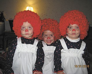 Jessica Cohn of Youngstown sent in this photo of three Raggedy Anns, age 1, 2 and 3 years old.