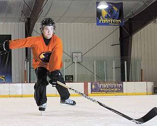 Youngstown Phantom forward, Ryan Belonger, poses for a portrait at the Ice Zone in Boardman following a practice on Tuesday evening.