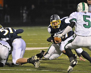 McDonald's Zach Tura rund the middle of the field against Mogadore during their Div VI playoff game at Twinsburg on Friday night. Photo/Mark Stahl