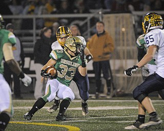 Ursuline's Jeff Podolsky returns an interception against Kirtland early in the 2nd half during their game in Auora on Saturday night. Photo/Mark Stahl