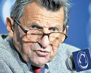 Penn State coach Joe Paterno answers a question during his weekly NCAA college football news conference on Tuesday, Nov. 23, 2010 in State College, Pa.  Penn State hosts Michigan State on Saturday.