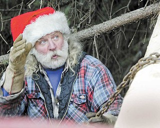 Marty Martin, an employee of Diamond Steel Construction Co., secures the blue spruce onto a flatbed to be hauled away. Martin has been involved in the cutting and transporting of Youngstown's Christmas tree for 28 years and dons a Santa hat each time.