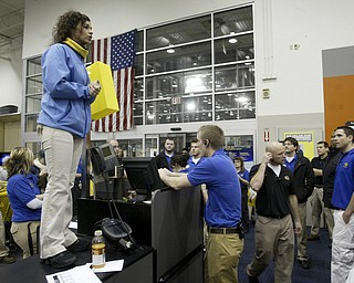 William D. Lewis|The Vindicator A large crowd qued up outside the Boardman Best Buy at 5am Friday to get Black Friday bargins. Inside, store manager Melissa Bukovak gives last minute instructions to workers shortly before the store opened.