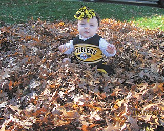Alicen Ruby, 10 months, shows her loyalty to the Pittsburgh Steelers in this fall shot. Photo sent in by Ruby Tomko of Youngstown.