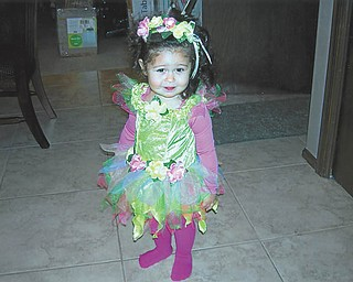 Fall fun for 19-month-old Sonya Gabriela Stefko, daughter of Kevin and Yocelin Stefko of Canfield, was dressing up for Halloween. Photo sent in by her proud grandma and grandpa, Patti and Mike Stefko of Canfield.