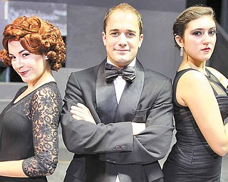 """Kayle Boye, Brian Palumbo, and Natalia Lepore Hagan star as Roxie Hart, Billy Flynn and Velma Kelly in the Youngstown Playhouse's production of """"Chicago,"""" which runs September 10-19."""