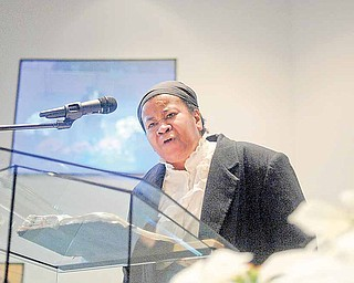 The Rev. Monica Beasley-Martin of Sheridan A.M.E. Church, East Liverpool, participates in the Emancipation Proclamation and Installation service at New Bethel Baptist Church, Youngstown. She performed a skit Saturday as black abolitionist Harriet Tubman.