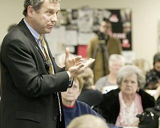 William D Lewis The Vindicator   US Senator Sherrod Brown during a 1-4-11 visit to the Austitnown Senior Center.