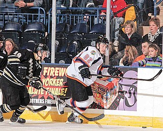 Jiri Sekac #92 of the Phantoms handles the puck on a power play against Muskegon.