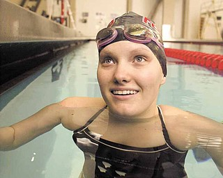 Samantha Roberts during a swim practice at Youngstown State University.