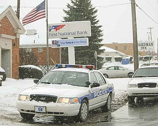 Boardman police officers responded to a robbery at First National Bank on Market Street about 10:15 a.m. Thursday. No customers were in the bank during the robbery.