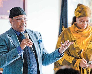 Ode Aduma shares his thoughts and thanks after receiving the Trailblazer Award for African American Pioneers in Broadcasting at the annual Dr. Martin Lurther King Jr. Luncheon held at VFW post 6488.