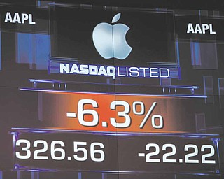 Apple stock numbers are displayed at NASDAQ in New York, Tuesday, Jan. 18, 2011. Stocks are opening mixed as Wall Street weighs another round of corporate earnings reports. Apple's stock is dragging the technology-heavy Nasdaq lower.