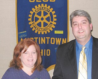 Triumph in Austintown: At the Rotary Club of Austintown's Jan. 17 meeting, Tom Ricciuti from Triumph Consulting Services spoke. Ricciuti, who conducts seminars to improve sales staff, said that face-to-face is the best way to sell. He gave tips on selling tickets for the Rotary Reverse Raffle scheduled for March 5 at the Maronite Center. That is Austintown Rotary's only real fundraiser all year, and the money benefits local, national, and international projects. To request tickets call Deanna Spirko at 330-793-4404. Above with Ricciuti is Rotary club president Susan Leetch.
