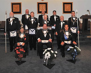 Newly installed officers of Argus Lodge 545 are, seated, from left, Paul McGraw, Richard Percic and Russell W. Gillam Jr., and standing, David Giudici, Thomas Eaton, Russell W. Gillam III, Denny Furman, Lyle K. Orr Jr., R. Christopher Gillam, Donald Huntley and Mark Roca.