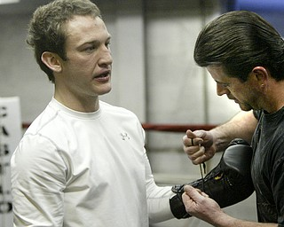 William D Lewis The Vindicator  Boxer Billy Lyell prepparing for upcoming fight in Mexico. Trainer Keith Burnside at right.