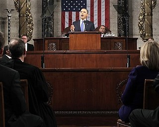 President Barack Obama delivers his State of the Union address on Capitol Hill in Washington, Tuesday, Jan. 25, 2011.  (AP Photo/Pablo Martinez Monsivais, Pool)