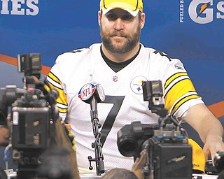 Pittsburgh Steelers' Ben Roethlisberger answers questions during media day for NFL football Super Bowl XLV, Tuesday, Feb. 1, 2011 in Arlington, Texas.