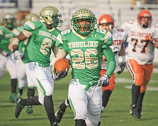 Ursuline running back and 2011 Mr. Fottball winner Akise Teague was the only Irish senior to sign a letter-of-intent on Wednesday with a FBS school during National Signing Day. Teague is headed to Cincinnati, and four of his teammates will also play college football: Paul Kempe and Pete Wearsch are off to Walsh, while Jordan Markota and Zach Conlan will join Youngstown State.