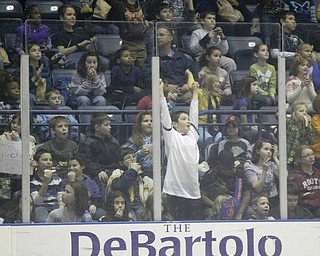School children  enjoy themselves at Phantoms Hockey game Wednesday morning at the Covelli Center.