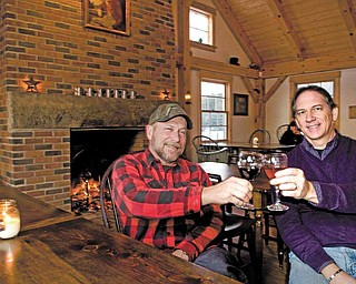 Keith Bliss (left) and his brother Dale (right) owners of the Greene Eagle Winery in Cortland.