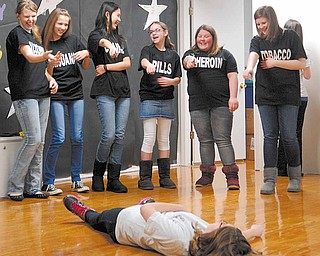 Senior Boardman Middle School PANDA club members preform a skit on the effects of drugs and alcohol use and poor decision making skills during a lock-In educational event Friday evening at Boardman Center Middle School.