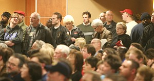 More than 200 people were turned away from the Chestnut Room in Youngstown State University's Kilcawley Center, which was packed with a standing-room-only crowd when the rally against Senate Bill 5 began. Firefighters, teachers and police were among crowd, which came out Monday to protest the bill that would eliminate collective bargaining for state employees.