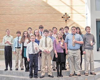 Newly initiated members of the National Junior Beta Club of Holy Family School for 2010/2011 follow: Nicholas Braydich, James Gentile, Jenna Perchak, Patrick Brennan, Christopher Perry, Kieran Burk, James Raymer, Olivia Christopher, Isabella Ricottilli, Nadine Jones, Tessa Snider, Kirsten Joss, Morgan Wardle, Robert Kurtka, Alex Wollet, Christopher Lewis, and Anthony Zeno.
