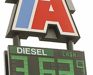 Diesel prices have been increasing. A sign lists diesel prices.