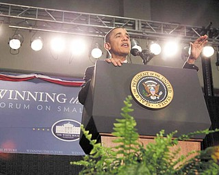 President Barack Obama speaks at the Winning the Future Forum on Small Business at Cleveland State University in Cleveland, Tuesday, Feb. 22, 2011.