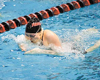 YSU sophomore swimmer Samantha Roberts competes in an event during a swim meet. Roberts will compete in both the 110- and 200-meter breaststroke events during the Horizon League championship met today.
