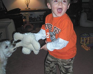 Jimmy Putko, 19 months, loves hanging out or playing with Jack! He is the son of Jim and Casey Putko of Boardman.