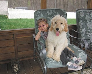 Jaxon, a goldendoodle who belongs to Lynnette Holland of Girard, doesn't think he's too big to be a lap dog as he relaxes with his cousin Marissa Wilson. Photo submitted by Lynnette Holland.